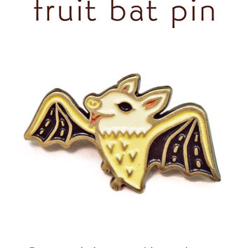 Bat Pin - Fruit Bat Pin - Bat Enamel Pin by boygirlparty