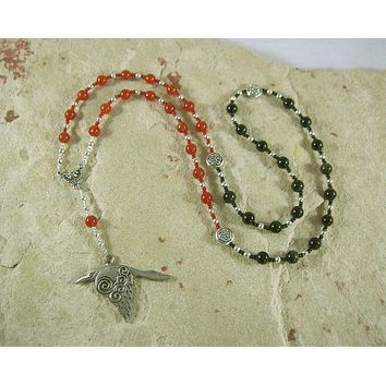 Morrigan Prayer Bead Necklace in Carnelian and Black Onyx: Irish Celtic Goddess