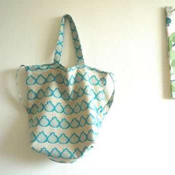 Reusable large shopping bag with blue onion cotton linen, Japanese fabric