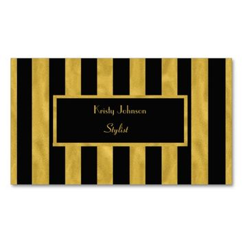 Stylish Gold & Black Stripe Classy Stylist Double-Sided Standard Business Cards (Pack Of 100)