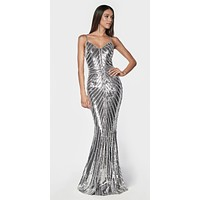 Silver Fitted Gown With Metallic Sequined And Art Deco Beaded Details