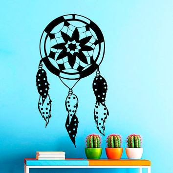 Dream Catcher Wall Decals Indian Amulet Lotus Design Feathers Home Interior Vinyl Decal Sticker Dorm Decal Mural Bedroom Wall Decor MR396