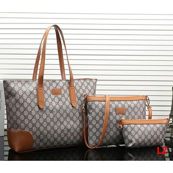 Gucci Women Fashion Leather Satchel Tote Shoulder Bag Crossbody Wallet Three Piece Set
