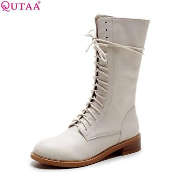 QUTAA 2016 Genuine Leather Women Shoes Square Low Heel Mid Calf Boot Lace Up Round Toe Women Motorcycle Boots Size 34-39