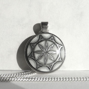 Chic Hand Painted Necklace, Black and White Necklace, Black White Jewelry Sacred Geometry Art, Necklace Charm Bezel Geometric Art by Artdora