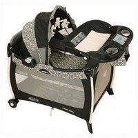 Graco Pack N' Play Playard with Bassinet, Mobile and Electronics in Rittenhouse Black Floral - 9957RIT - Cribs - Nursery Furniture - Baby & Kids' Furniture - Furniture