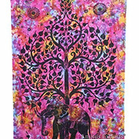"Amitus Exports 1 X Elephant Under Tree 77""X53"" Approx. Inches Black With Multi Background Color Cotton Fabric Multi-Purpose Handmade Tapestry Hippy Indian Mandala Throws Bohemian Tapestries"