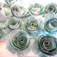 Paper Flowers Roses Sea Green For Scrapbooking Card Embellishments