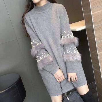 Autumn Winter Beads Pearl Knitted Sweater Dress Women Casual Turtleneck Faux Fur Tassel Pullovers Elegant Knit Long Jumpers