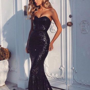 B| Chicloth Black Sequins Mermaid Prom Dresses Sexy Evening Gowns