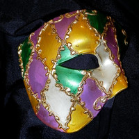 Phantom of the Opera Mask in Purple, Green and Gold