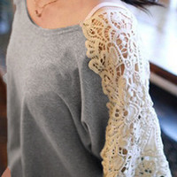 'The Kalila' Butterfly Sleeve Lace Panel Blouse