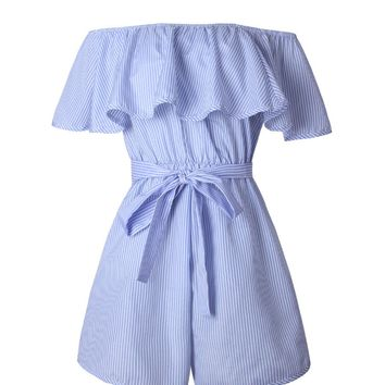 Streetstyle  Casual Off Shoulder Bowknot Flounce Pinstripe Romper