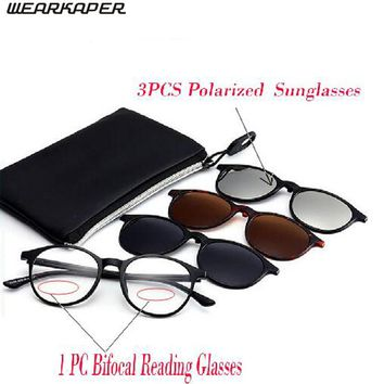 WEARKAPER 1pcs Bifocal Reading Glasses+3pair Magnetic Polarized Sunglasses Myopia Hyperopia Night Vision Reading Sun Glasses