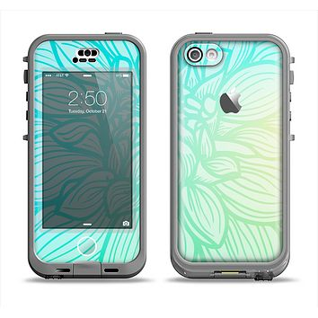 The Faded Blue & Green Subtle Floral Apple iPhone 5c LifeProof Nuud Case Skin Set