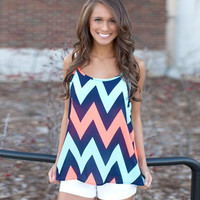 Blue Wave Print Spaghetti Strap Top