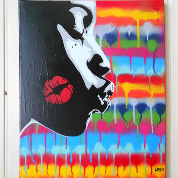 african woman custom painting kiss under the rainbow,stencil art,graffiti art,urban art on canvas,lips,multicoloured,black,white,grey,