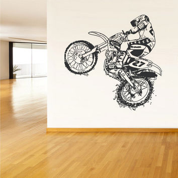 rvz1557 Wall Vinyl Sticker Decal Dirt Dirty Motocross Motorcycle Bike Motorbike