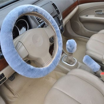 Blue 3pcs Artificial wool plush car cover steering wheel cover plush set handbrake cover car imitation fur steering wheel set gift Winter & Autumn Warm