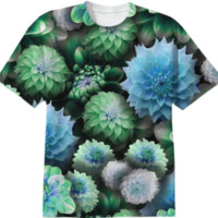Blue Green Dahlias T-Shirt created by Blooming Vine Design | Print All Over Me