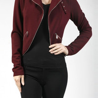 Casual Long Sleeve Curved Hem Zipper Biker Light Liverpool Jacket