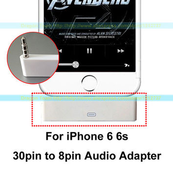 30pin female Dock to 8pin male 3.5mm Audio Sync Charger Adapter for Apple iPhone 6 6s 4.7'' Applies to 30pin interface Speakers