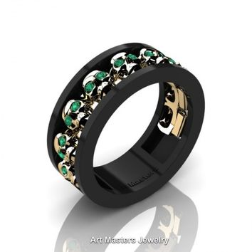 Mens Modern 14K Black and Yellow Gold Emerald Skull Channel Cluster Wedding Ring R913-14KBYGEM