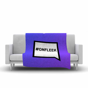 "KESS Original ""On Fleek"" White Purple Fleece Throw Blanket"