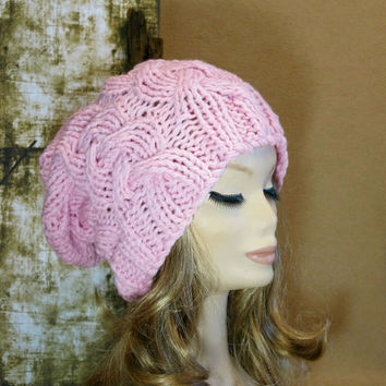 Hand Knit, Slouchy Beanie, Cable Hat, Women Men Slouchy Beanie, Knit Hat, Chunky Knit, Winter Fall Accessories, Slouchy, Knitted Pale Pink