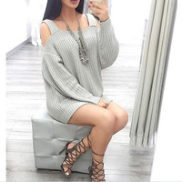 Sexy solid color strapless knit dress