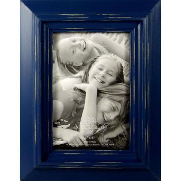 "Distressed Blue 4"" x 6"" Distressed Rustic Wood Frame 