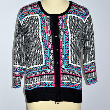 Joseph A. Cardigan Sweater Paisley Print New XL