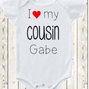 Personalized cousin Onesuit ® brand bodysuit or shirt pregnancy announcement idea for aunt uncle I love my cousin custom new baby gift