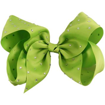 "Rhinestone 8"" Hair Bow, Lime"