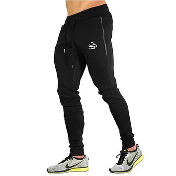 New Big Zipper Sweatpants Men Solid Workout Bodybuilding Clothing Casual Fitness Joggers Pants Skinny Trousers 3 Color