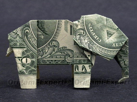 dollar bill origami elephant great gift from
