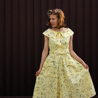 NOS Soviet Swing Dress / 1990 Does 50's New Old Stock Ukrainian Vintage Yellow Cotton Pin Up Tea Dress / Gorgeous USSR Floral Dress, Size M