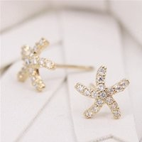 MP Micropave Setting of AAA Quality White Clear CZ Stones Pin Earrings Summer Beach Sea Star Starfish Golden Color 18K Gold Plated Gift for Her ADP 0704