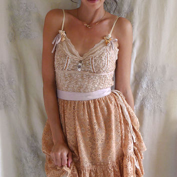 Fawn Deer Dress and Antler Costume... Size Medium... halloween women boho fairy pan pixie fantasy fairytale bridesmaid