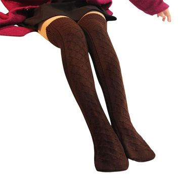 Warm Stockings NEW Women Winter Stockings Cable Knit Over knee Long Boot Thigh High 4Colors