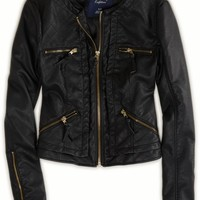 AEO Women's Quilted Vegan Leather Jacket (Black)