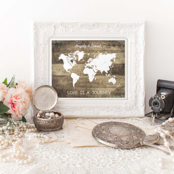 Personalized Rustic Map Print, World Map Art, Wedding Decor, Gift for Couples, Travel Print, Long Distance Love, Anniversary Gift, P-008