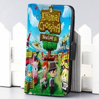 animal crossing new leaf cartoon wallet case for iphone 4,4s,5,5s,5c,6 and samsung galaxy s3,s4,s5