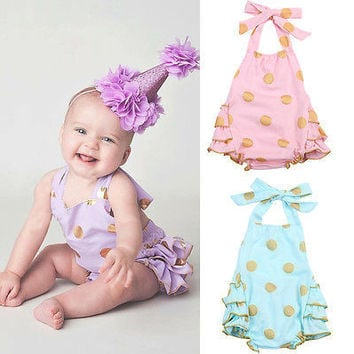 Baby Romper Girls Halter Polka Dot  Jumpsuit Playsuit Dot Sunsuit Outfits Clothes