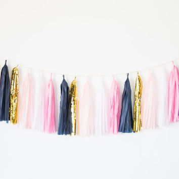 Pink, Blush, Gold and Navy Blue Tassel Garland- Party Decor, Birthday Party Decor, Preppy Dorm Decor, Nursery Decor, Pink and Navy Garland