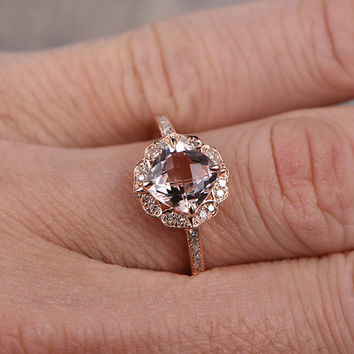 7mm Cushion Morganite Engagement ring Rose gold,Diamond wedding band,14k,Gemstone Promise Ring,Bridal Ring,Retro Vintage,Custom made setting