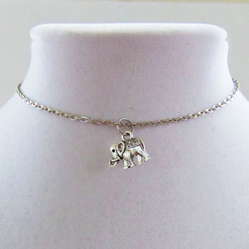 Cute dainty elephant charm necklace with custom size simple minimalist chain necklace or choker makes a great gift or stocking stuffer