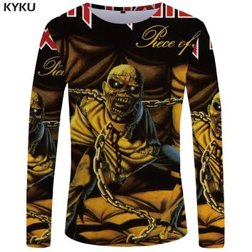 KYKU Brand Iron Maiden Long sleeve T shirt Punk Funny T shirts Gothic Clothes Skull Tshirt  Tops  3d T-shirt Men Hip hop Sexy