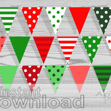 Christmas Printable Banner, Polka Dot, striped pennant, red, green, party bunting banner, instant digital download, ready to print PDF files