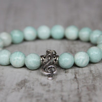 music bracelet treble clef charm amazonite bracelet women gift girlfriend gift for musician turquoise bracelet wife birthday gift sister
